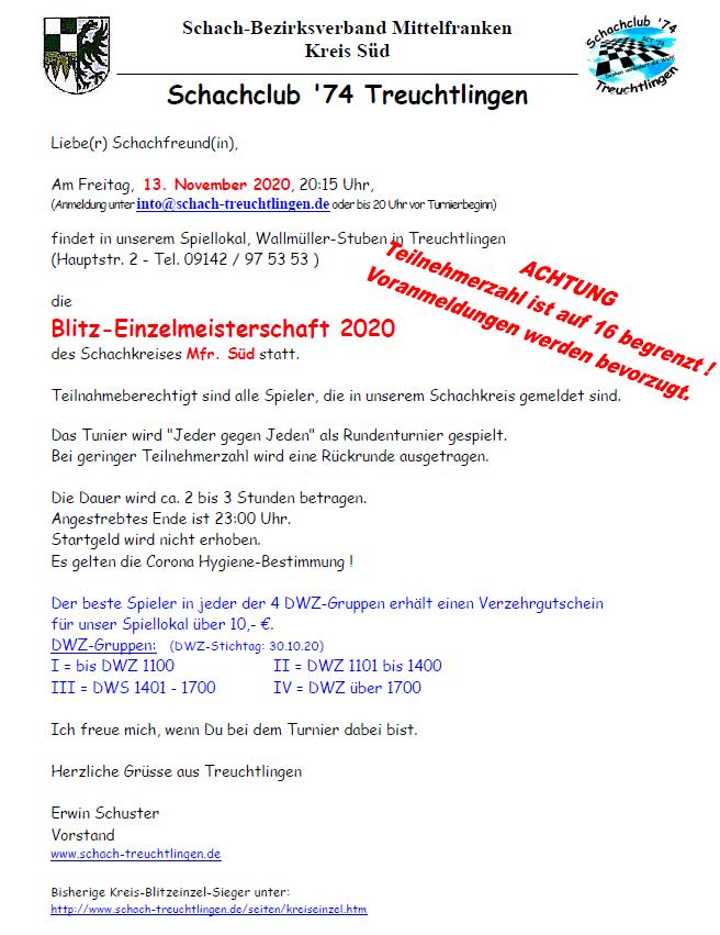 Kreisblitzmeisterschaft ABGESAGT! @ Wallmüller-Stuben | Treuchtlingen | Bayern | Deutschland